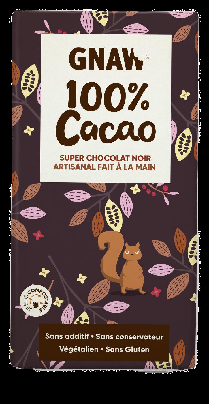 Tablette de chocolat noir GNAW 100%