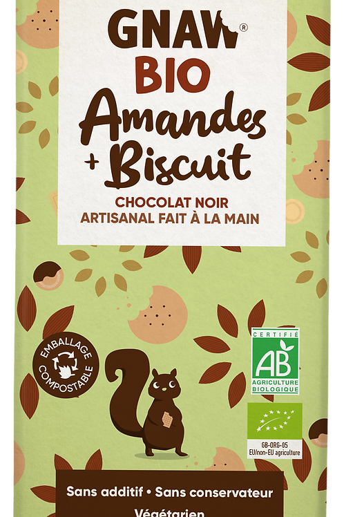 My organic dark chocolate with almonds and biscuits