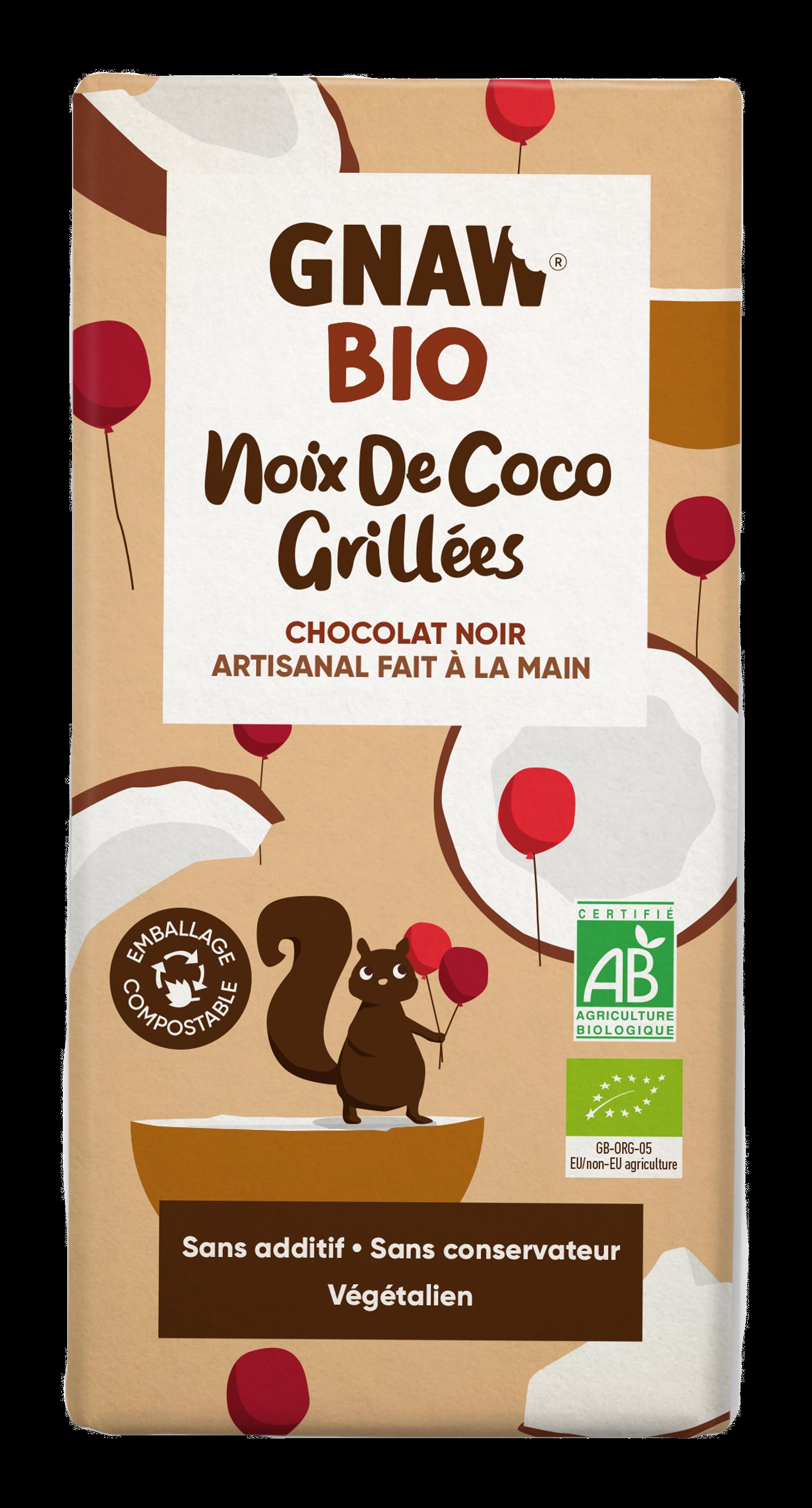 05060463490898 GNAW CHOCOLAT NOIR BIO, NOIX DE COCO GRILLEES