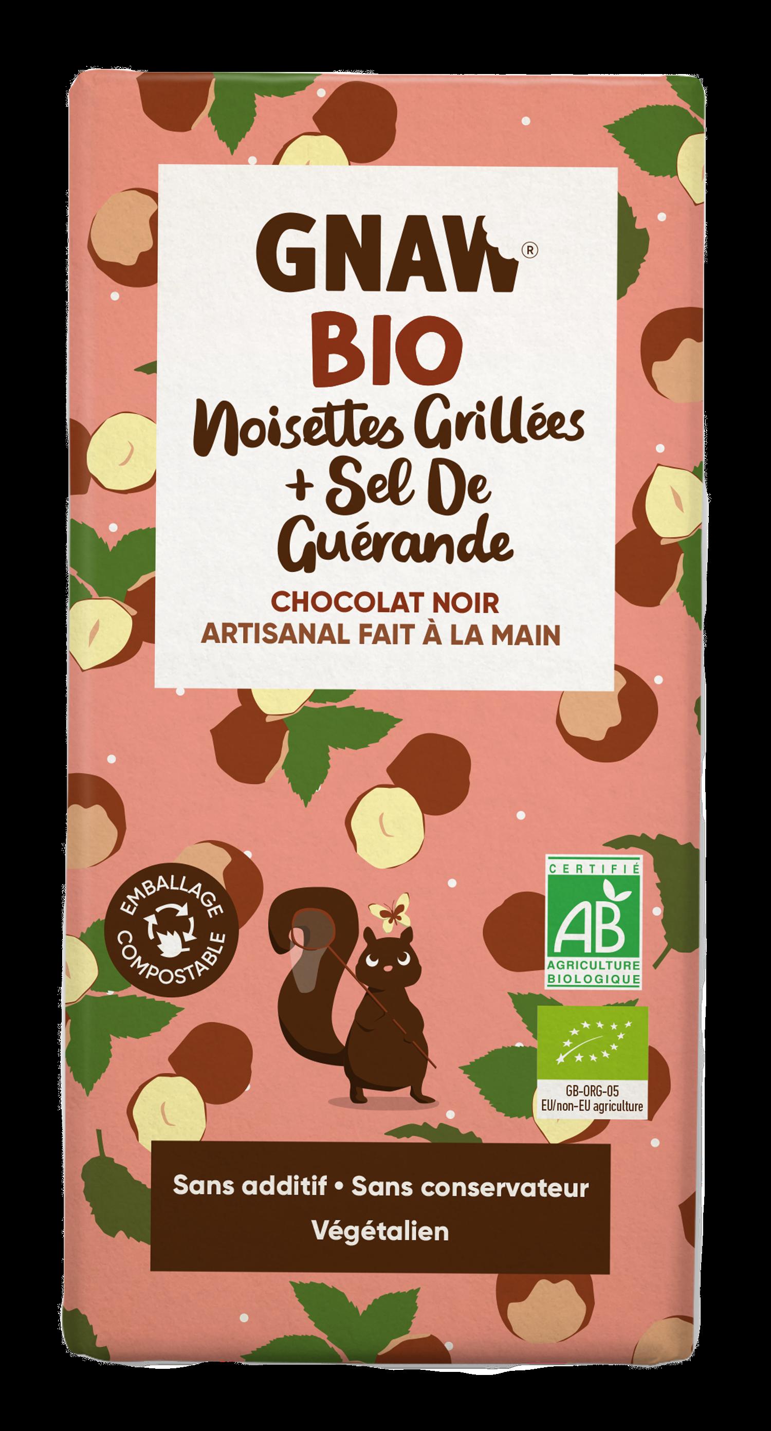 05060463490911 GNAW CHOCOLAT BIO NOIR, NOISETTES GRILLEES ET SEL DE GUERANDE