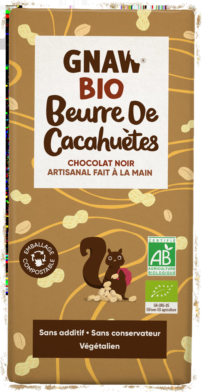 05060463490867 GNAW CHOCOLAT BIO  NOIR BIO ET BEURRE DE CACAHUETES