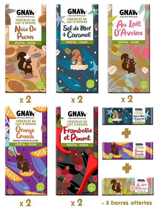 PACK 10 TABLETTES VEGAN ET 3 BARRES OFFERTES (PRÉCOMMANDE)