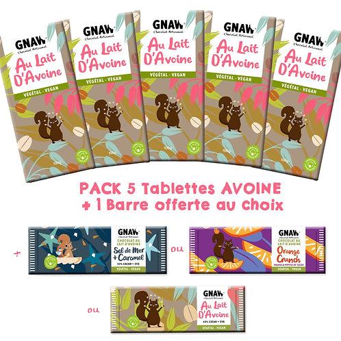 PACK 5 TABLETTES VEGAN+ 1 BARRE AU CHOIX OFFERTE (PRÉCOMMANDE)