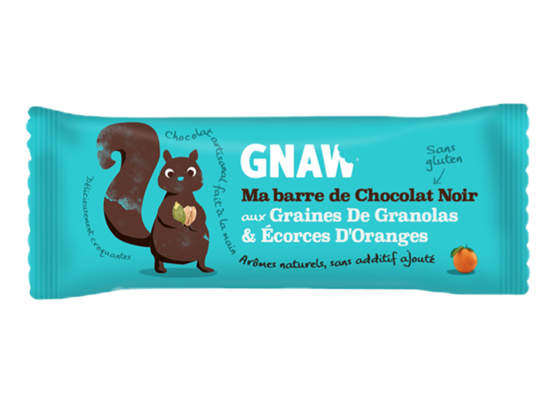 Snacking, Barre de chocolat aux granolas et orange