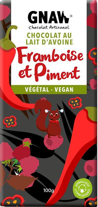 TABLETTE CHOCOLAT VEGETAL PIMENT ET FRAMBOISES GNAW