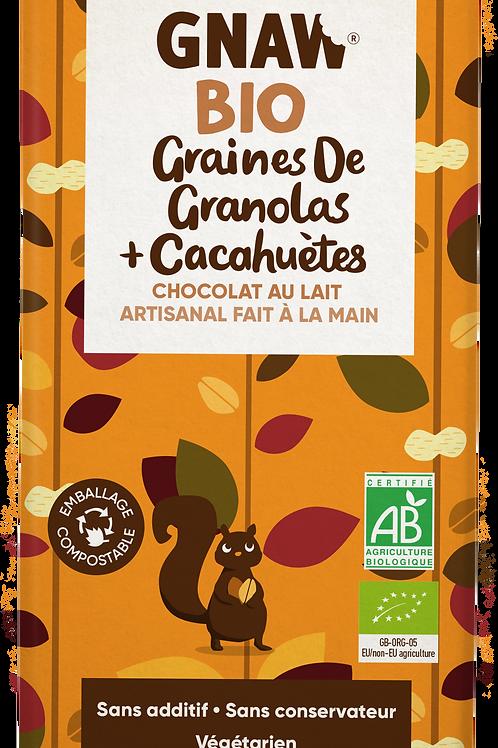 Mon chocolat au lait BIO graines de granolas et cacahuètes