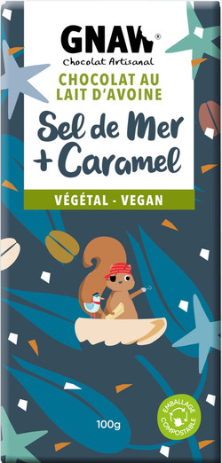 TABLETTE CHOCOLAT GNAW VEGETAL SEL CARAMEL 100GR VEGAN