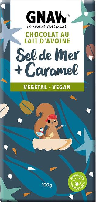 TABLETTE CHOCOLAT LAIT VEGETAL, SEL DE MER ET CARAMEL