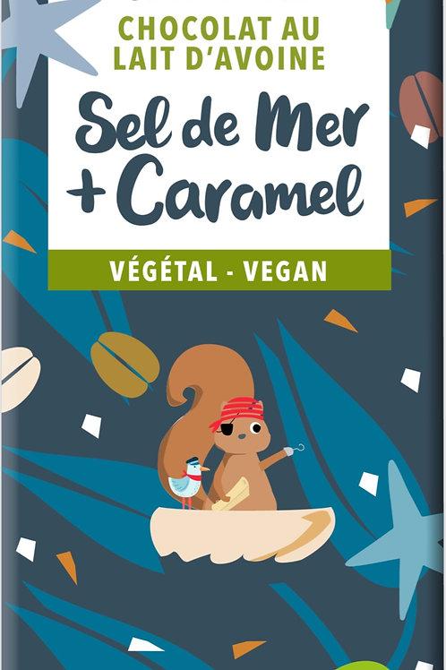 TABLETTE DE CHOCOLAT VEGAN, SEL DE MER ET CARAMEL 100GR (PRÉCOMMANDE)
