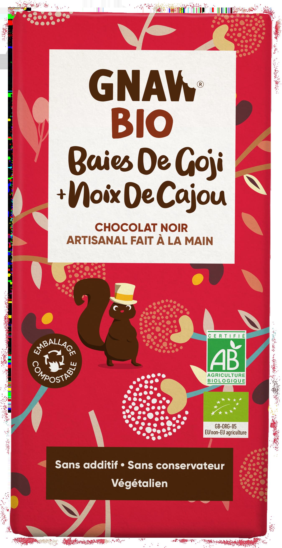 5060463490942 GNAW CHOCOLAT NOIR BIO, BAIES DE GOJI ET NOIX DE CAJOU