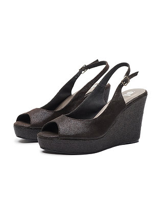SUEDE SANDAL WITH GLITTERY HEEL