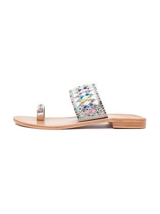 MIRROR AND POMP TOE RING SLIDE