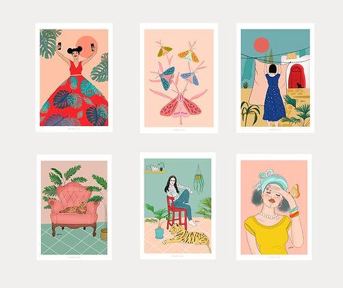 מארז 6 גלויות מאוירות