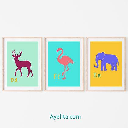 סט 3 הדפסי חיות ואותיות לחדר ילדים