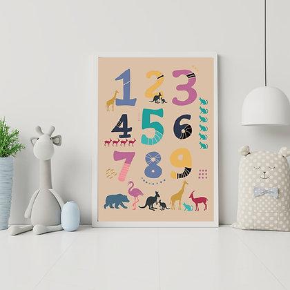 הדפס מספרים וחיות