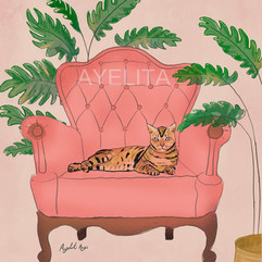 cat on couch by Ayelita
