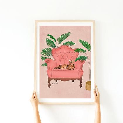 הדפס - חתול בכורסא
