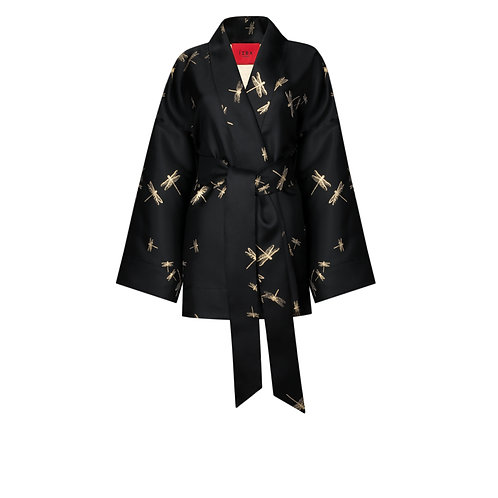 IZBA rouge black jacquard kimono with embroidery