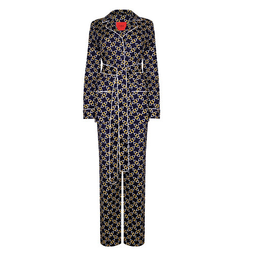 IZBA rouge deep-blue cotton pajama suit with chain pattern