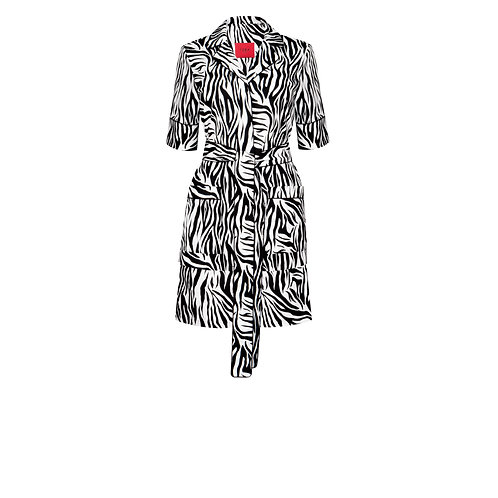 IZBA rouge black and white animal-print cotton pajama suit with shorts