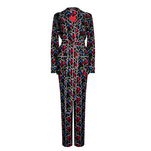 IZBA rouge black pajama for outdoor suit with floral print
