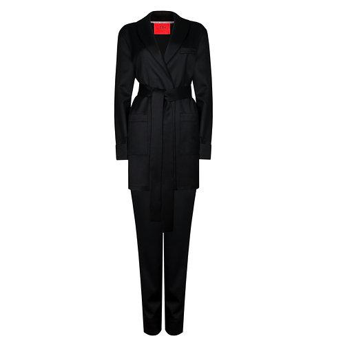 IZBA rouge black wool lounge suit pajama suit