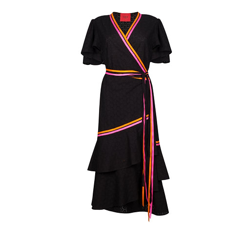 IZBA rouge perforated black cotton robe-style dress with colorful stripes