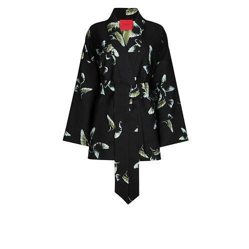 IZBA rouge black jacquard kimono with paradise birds