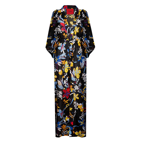 IZBA rouge cotton floral print robe style-dress with sleeves