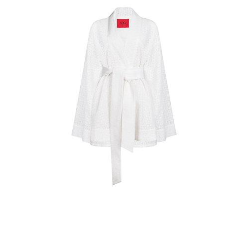 IZBA rouge perforated white cotton kimono with shorts