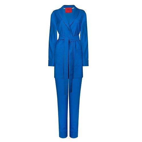 IZBA rouge костюм на запах из натуральной шерсти синего цвета
