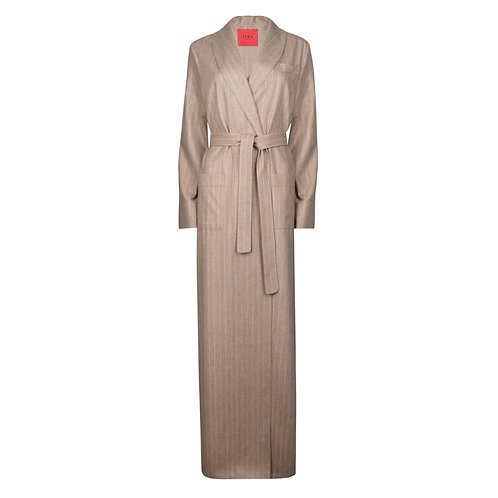 IZBA rouge beige wool robe-style coat with stripes