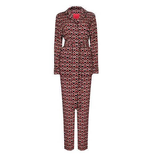 IZBA rouge printed pajama suit black and beige with belt