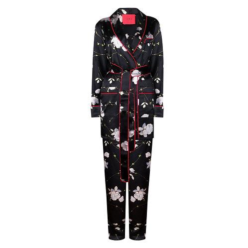 IZBA rouge black silk floral-print lounge suit