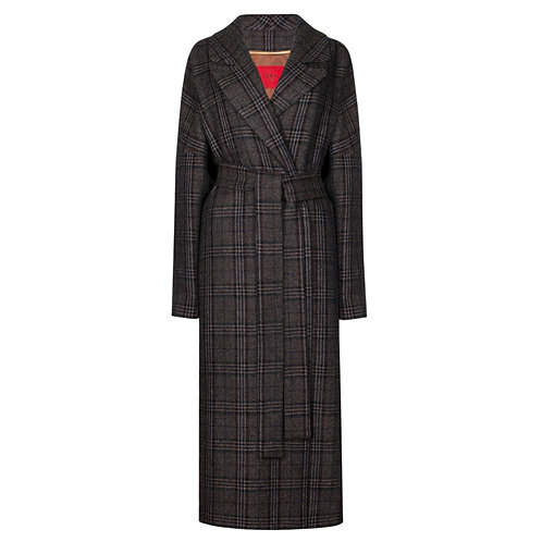 IZBA rouge brown wool  checked coat