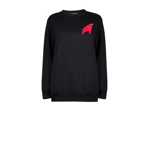 IZBA rouge новогодний подарок черный свитшот с вышивкой красного быка