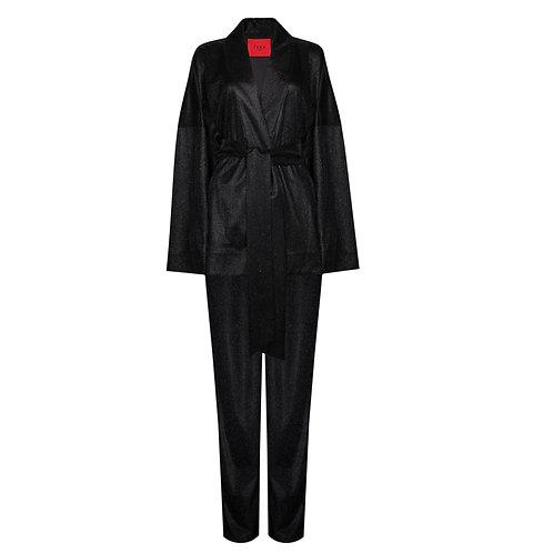 IZBA rouge новогодняя коллекция черное кимоно с брюками с эффектом сияния