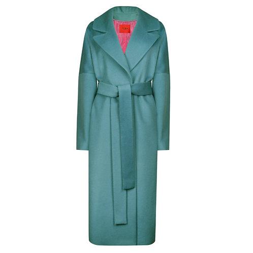 IZBA rouge pure wool coat in aquamarine color
