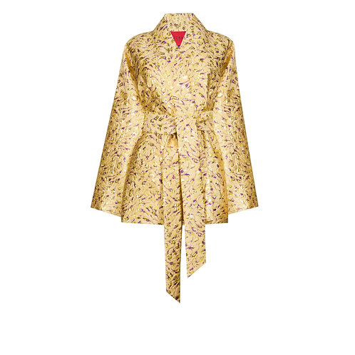 IZBA rouge gold jacquard kimono with floral embroidery