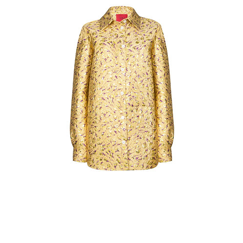 IZBA rouge gold jacquard shirt with floral embroidery