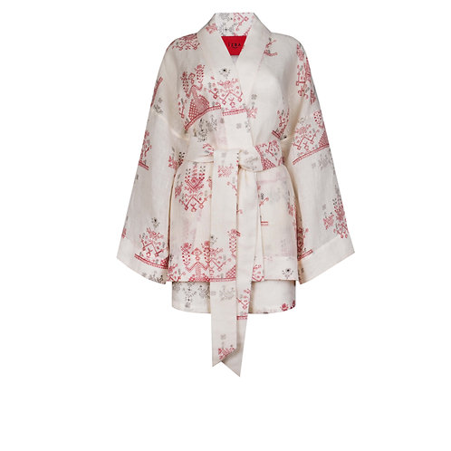 IZBA rouge red linen printed kimono with shorts