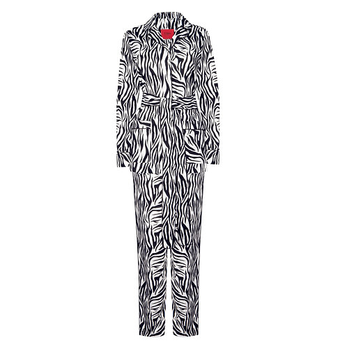 IZBA rouge animal-print black & white cotton pajama suit