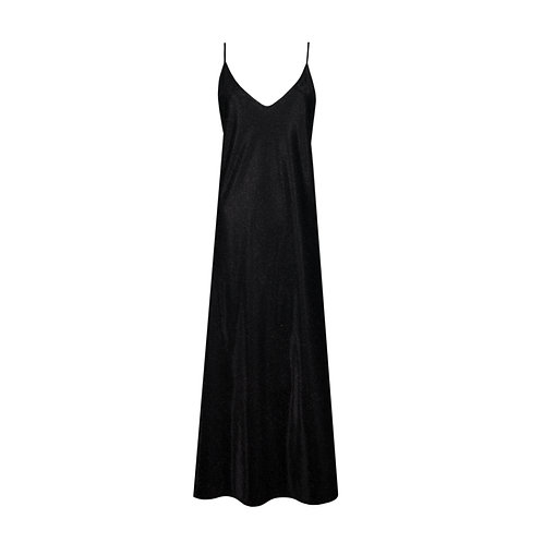 IZBA rouge new year collection black slip dress with lurex