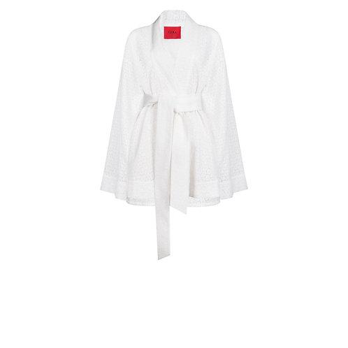 IZBA rouge кимоно и шорты из белого хлопка с перфорацией