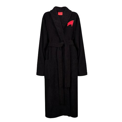 IZBA rouge черный махровый халат с вышивкой красного быка