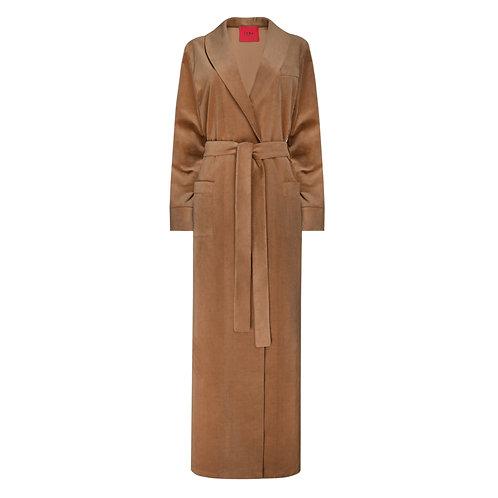IZBA rouge пальто-халат из бархата для улица осенняя коллекция цвета кэмел