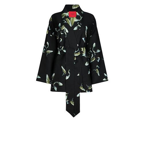 IZBA rouge black kimono with birds