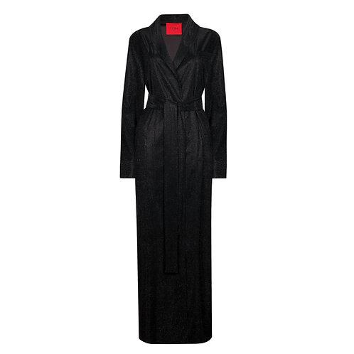 IZBA rouge вечернее платье-халат черного цвета с люрексом из новогодней коллекции
