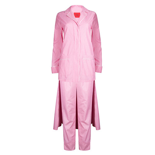 IZBA rouge cotton pajama suit in tuxedo style pink with stripes