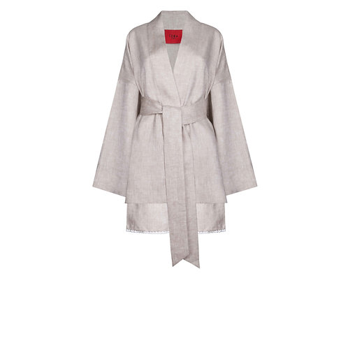 IZBA rouge pure linen lounge suit for leisure kimono with shorts